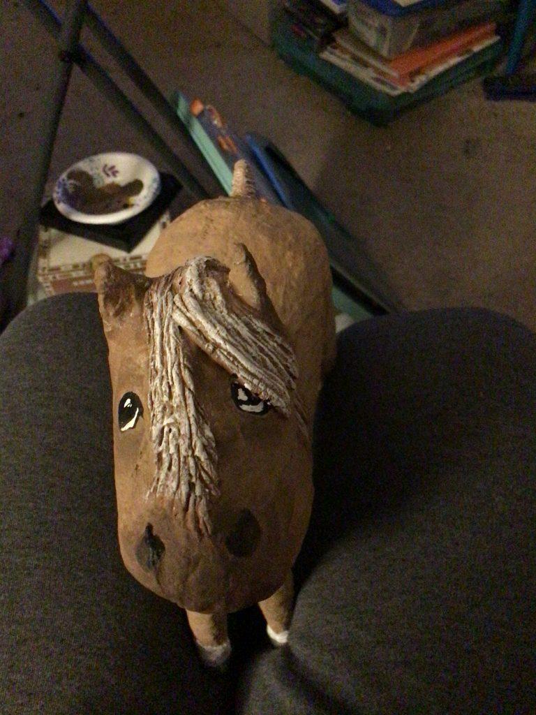 Paper mache clay horse