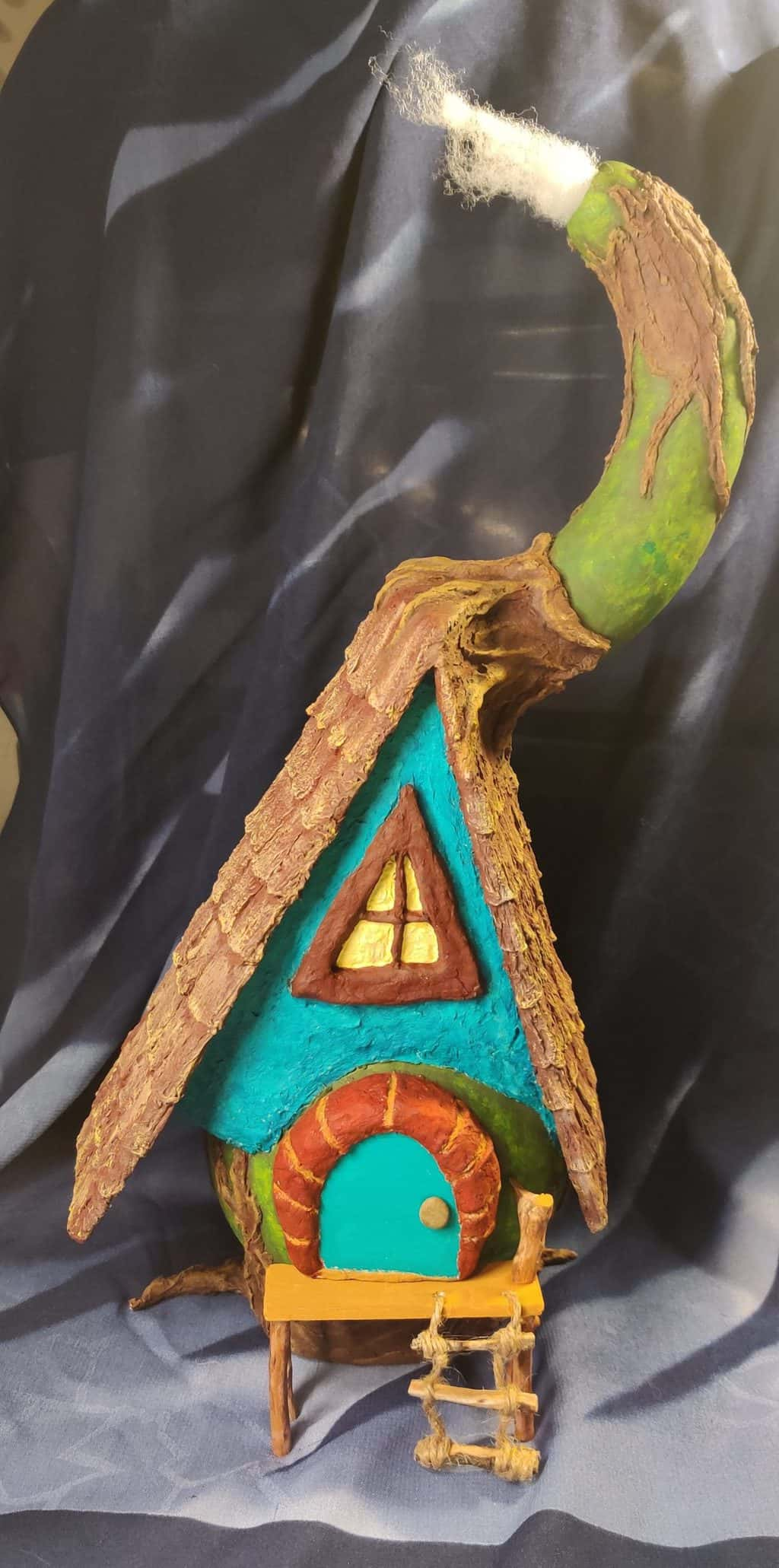 Fairy House made with gourd - front view