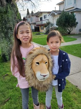 Girls and Lion Mask