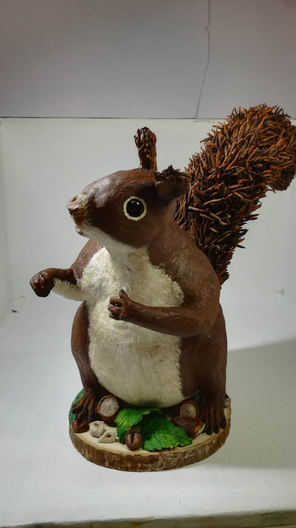 Paper clay squirrel made by Linda Crawford