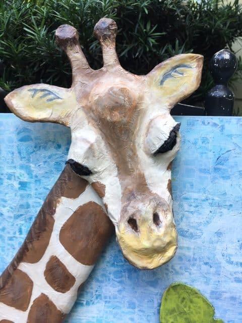Paper mache giraffe 3D painting