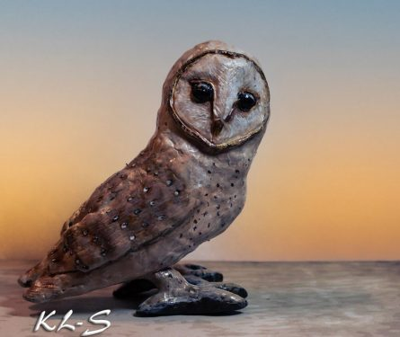 Barn owl made with paper mache clay