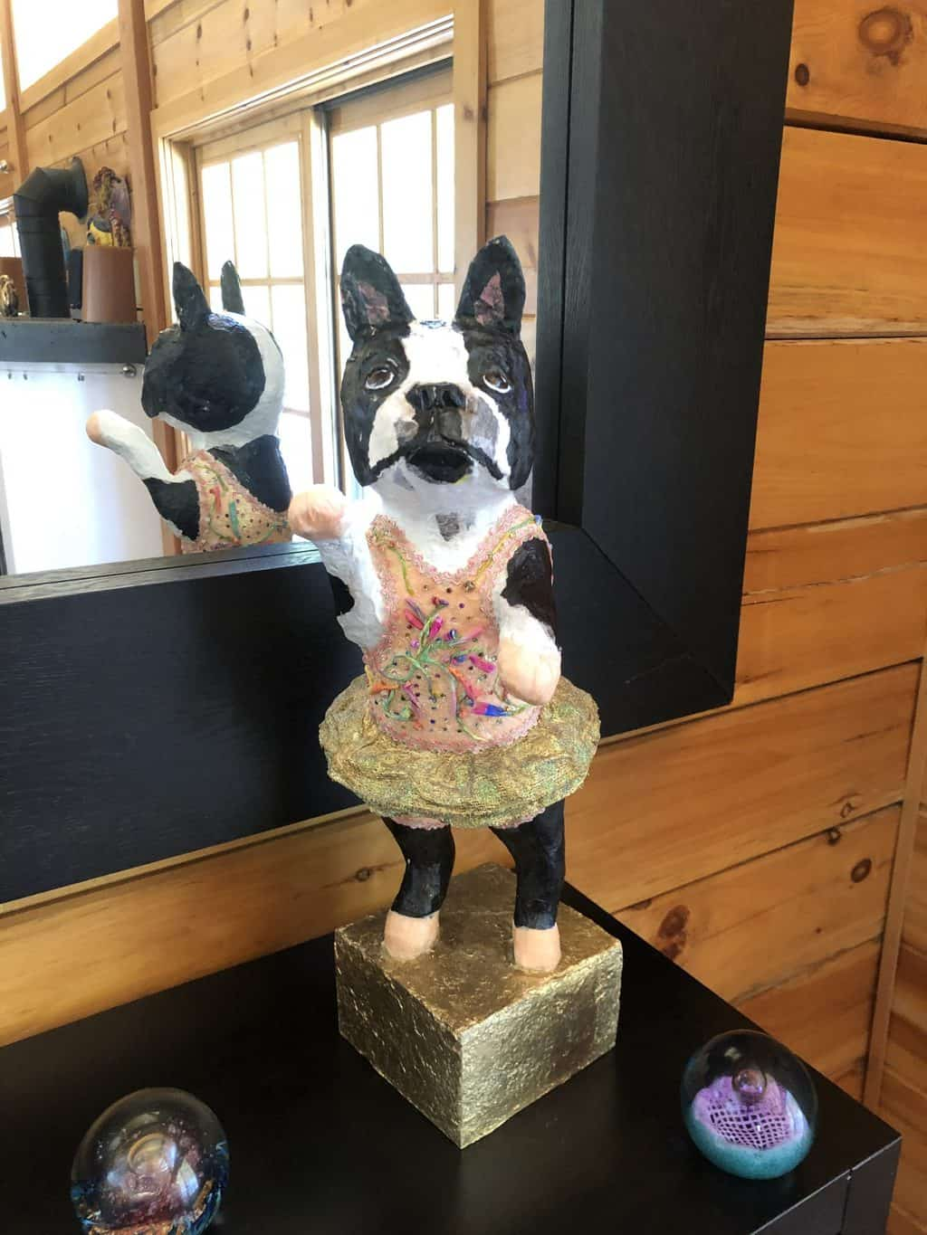 Paper mache boston terrier, with bling.