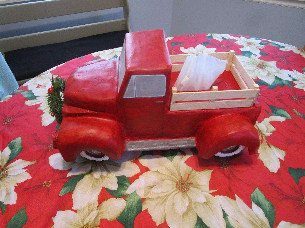 Christmas Red Truck Kleenex box cover paper mache