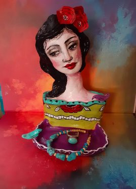 Frida-inspired jewelry dish made with paper mache clay
