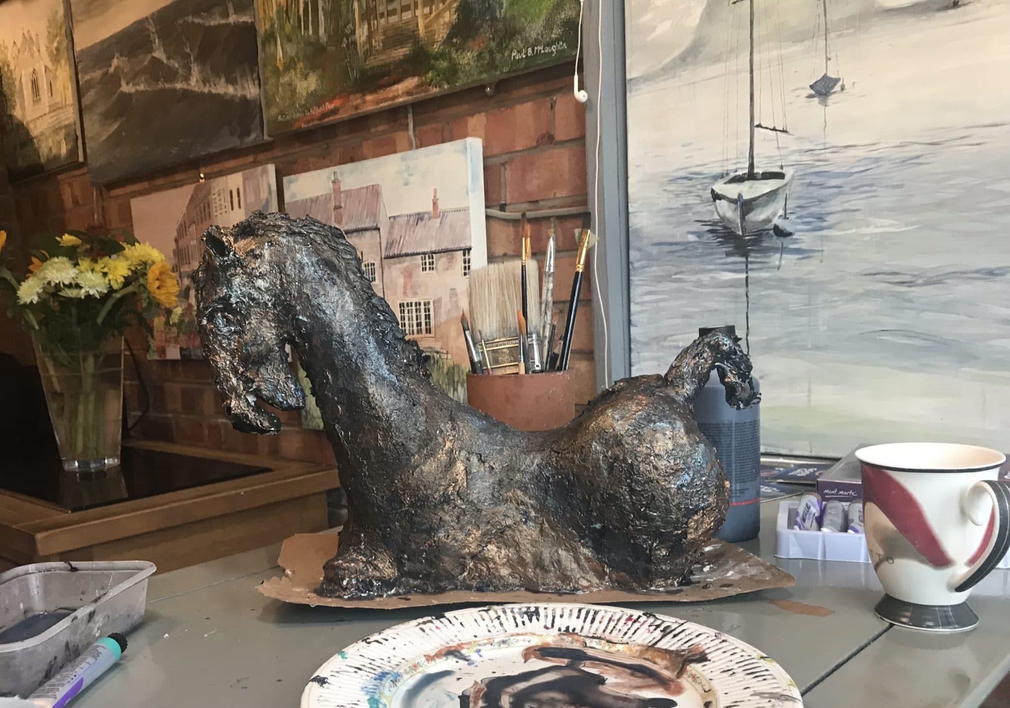 Bronze paper mache horse