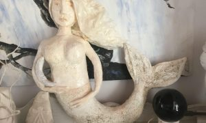 Papier mache mermaid or Oceanides from Greece mythology