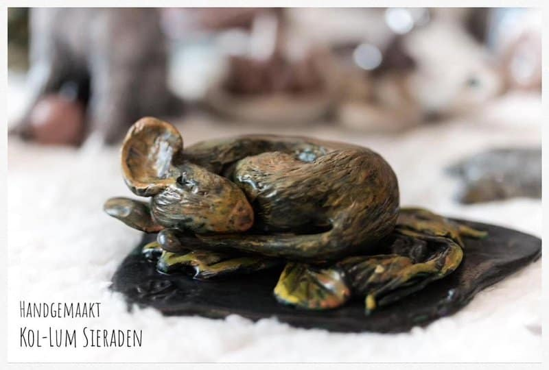 Sleeping Mouse made with paper mache clay
