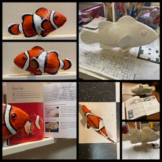 Fish made with paper mache clay
