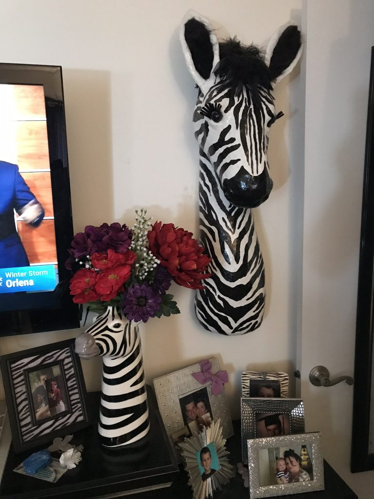 Zebra in African-theme decor