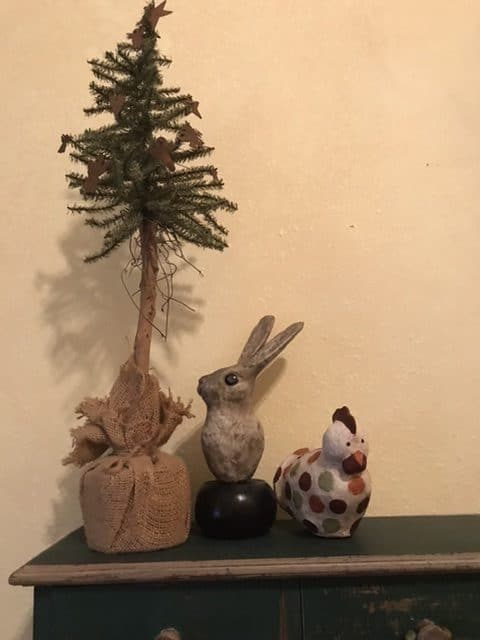 Folk art hen and bunny