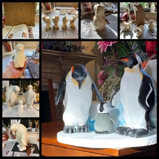 Penguins made with paper mache clay