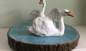 Swans on water by Made by Eileen Gallagher