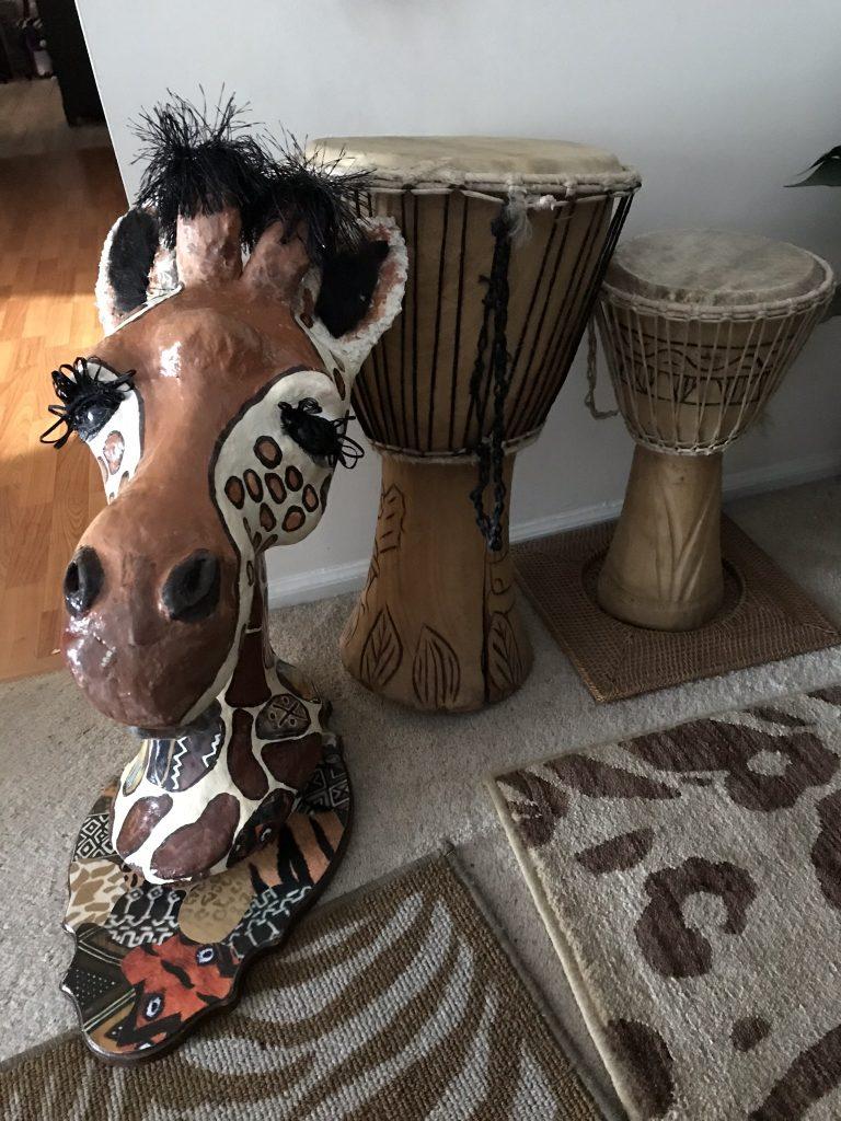 Giraffe in African-theme decor