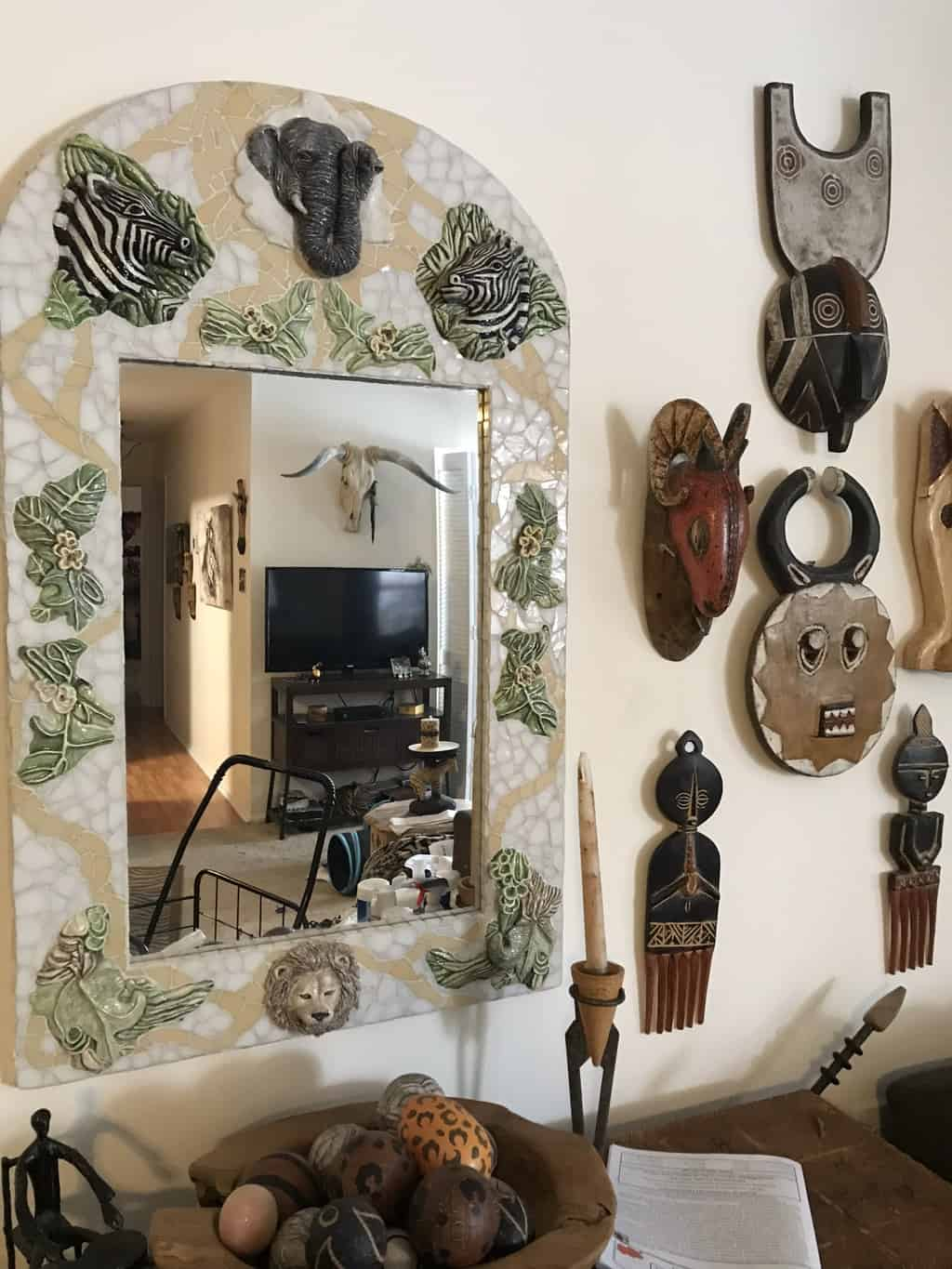 ceramic and stain glass mosaic mirrors
