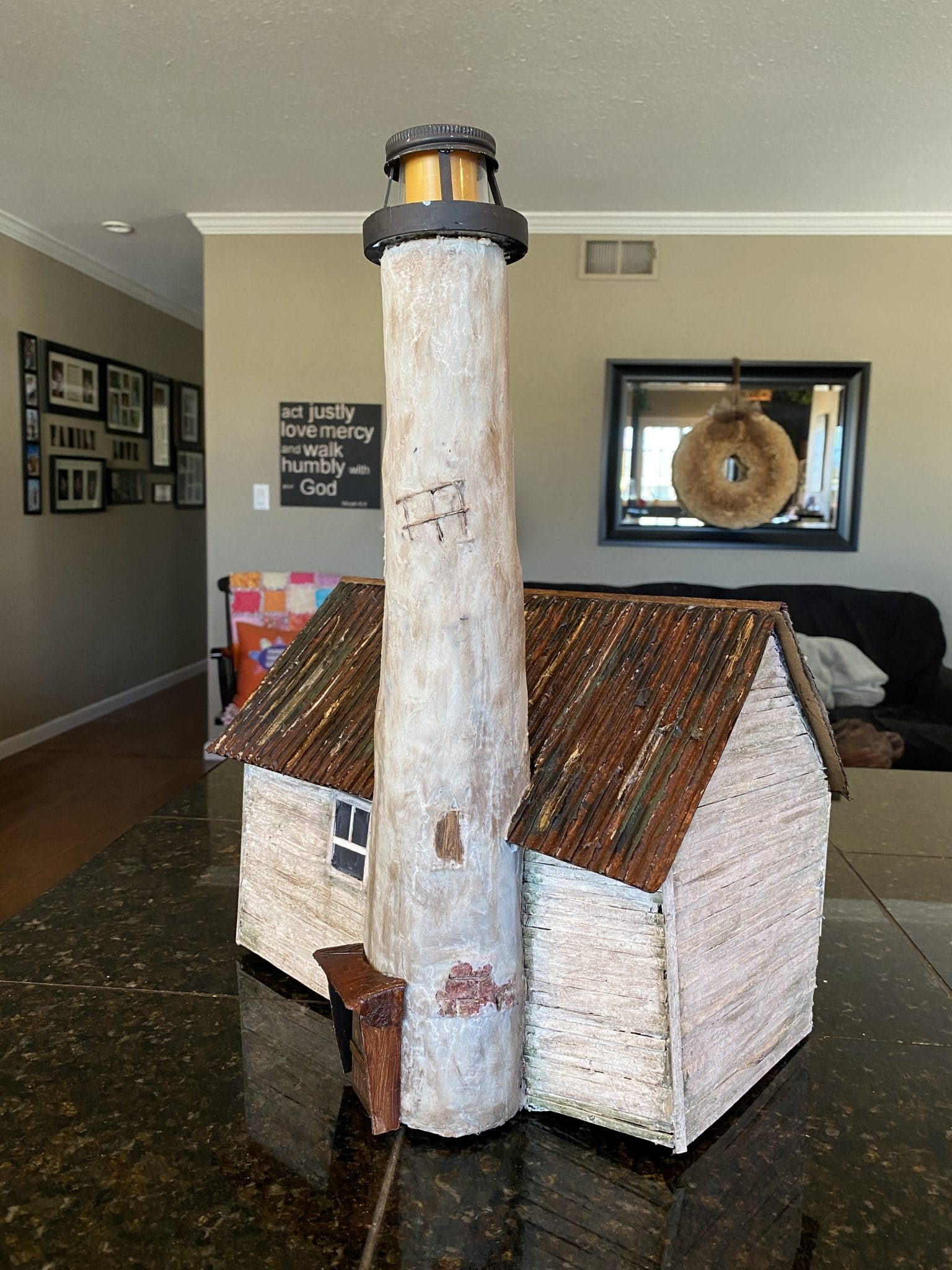 Paper mache lighthouse