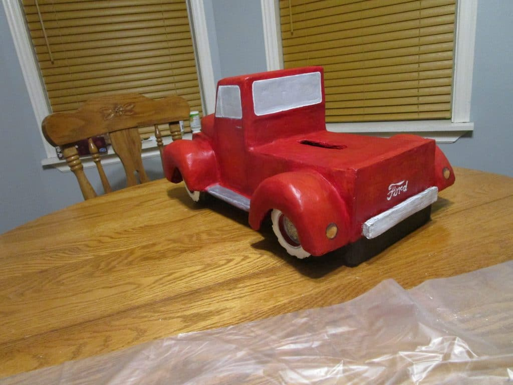 back of Christmas Red Truck Kleenex box cover paper mache