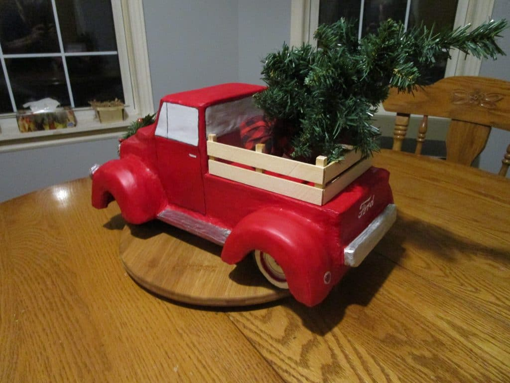 Paper mache truck for Christmas