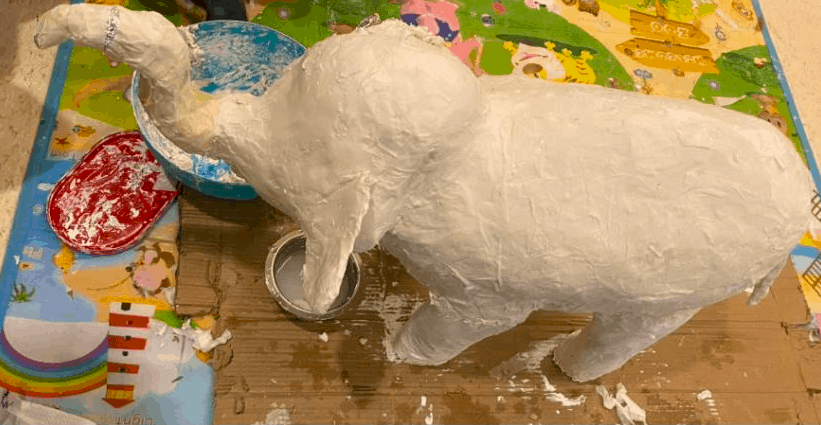 Paper mache Indian Elephant before painting