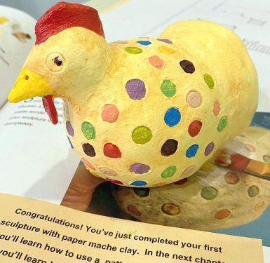 Vintage Hen made with paper mache