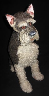 Schnauzer sculpture with real dog hair