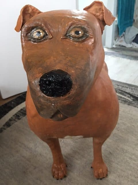 Staffy made with paper mache clay by Fiona McCauley