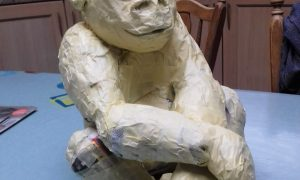 Baby gorilla sculpture in progress - the armature