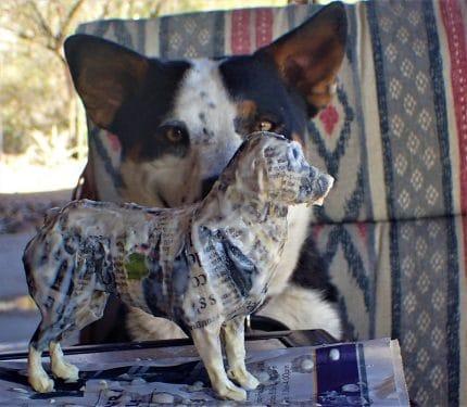 Paper mache australian shepherd
