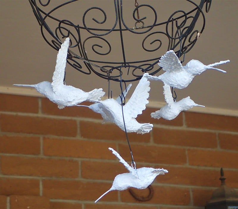 Hummingbirds in Paper mache clay, ready to paint