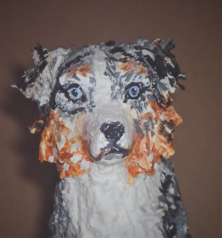 Australian Shepherd made with paper mache clay