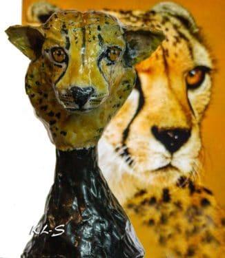 Paper mache cheetah