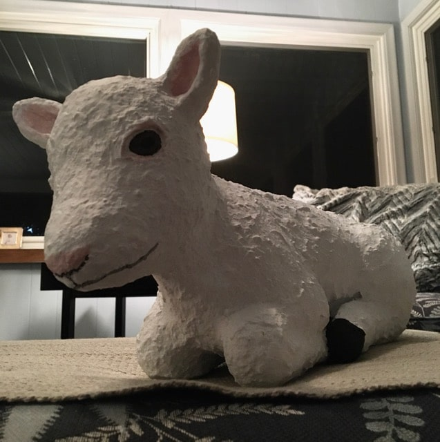 Lamb made with paper mache clay for Easter display