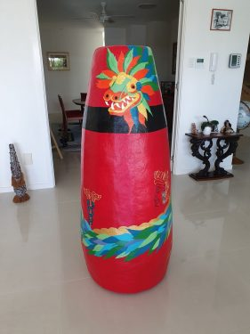 Aztec-themed vase made with paper mache clay
