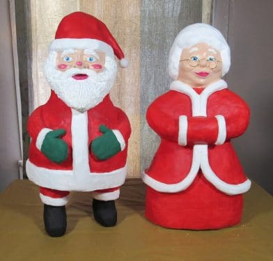 Mr and Mrs Santa Clause in paper mache