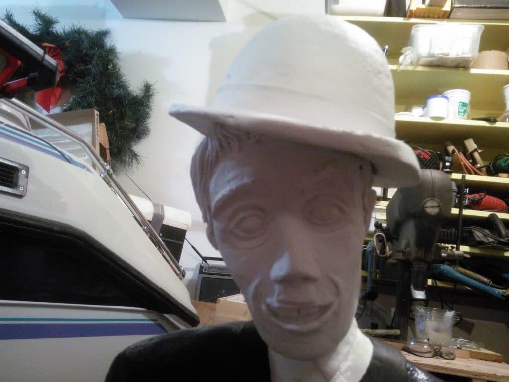 Paper mache Charlie Chaplin ready to paint