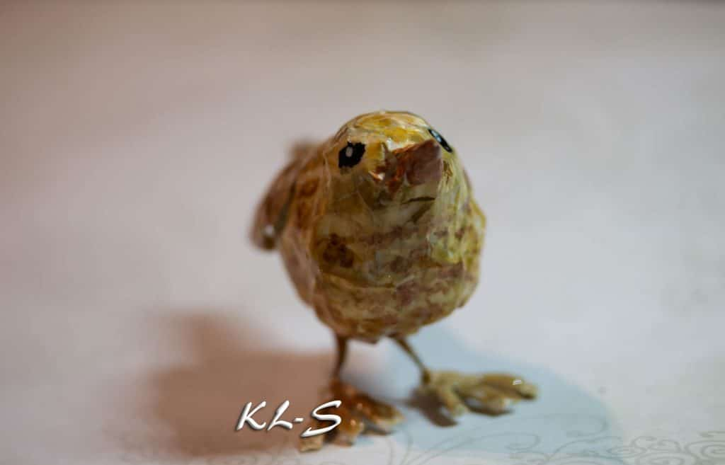 Tiny paper mache bird