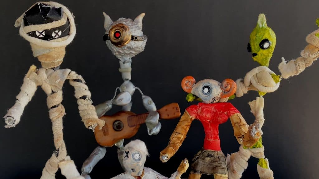 Stop motion puppets - the whole gang