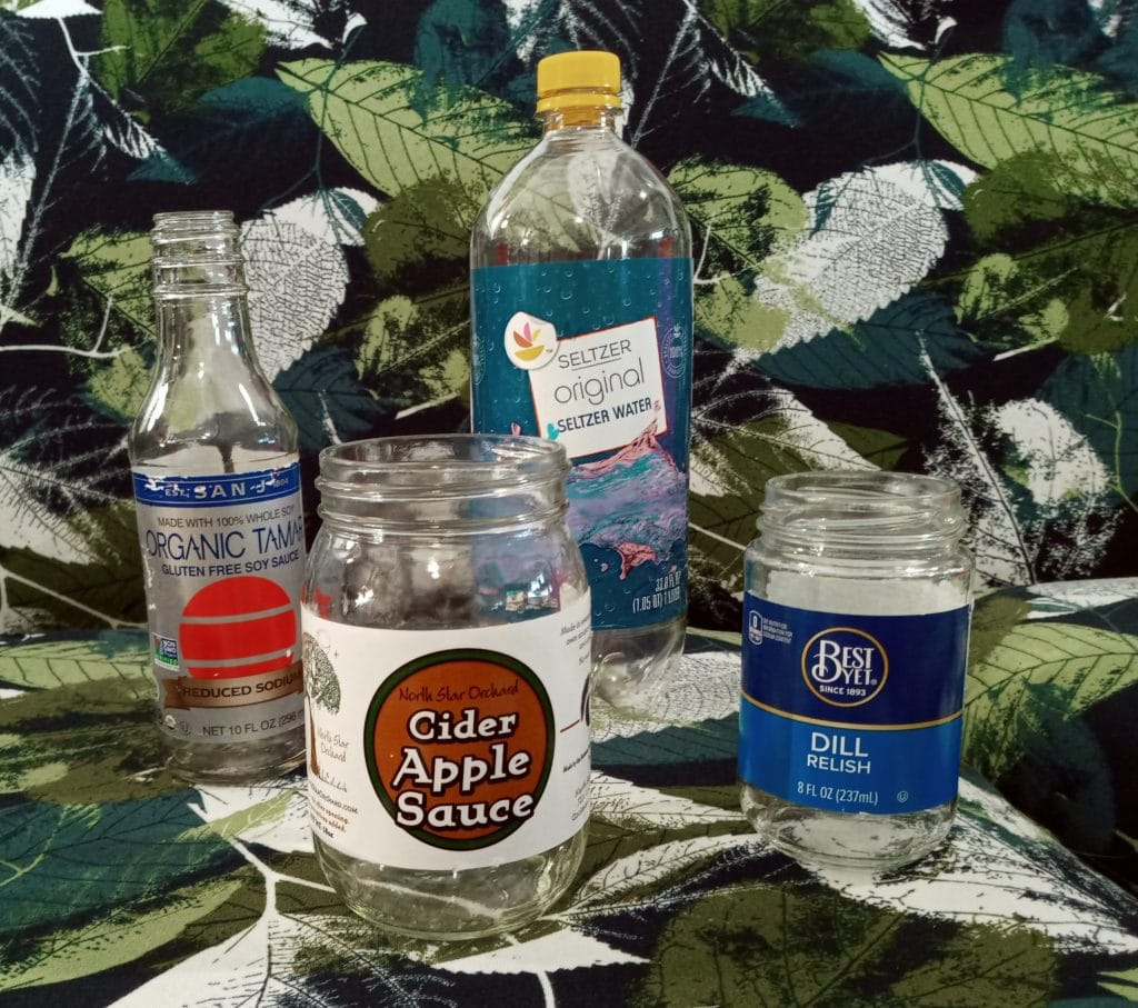 Bottles used in a paper mache sculpture
