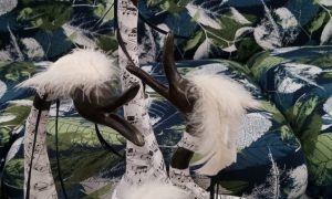 """Upcycled paper mache sculpture """"The Birds of Beethoven"""" by Lisa Anne"""