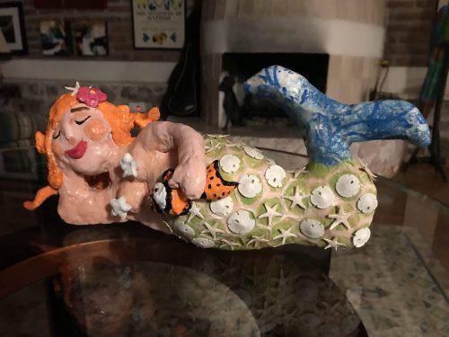 Paper mache mermaid
