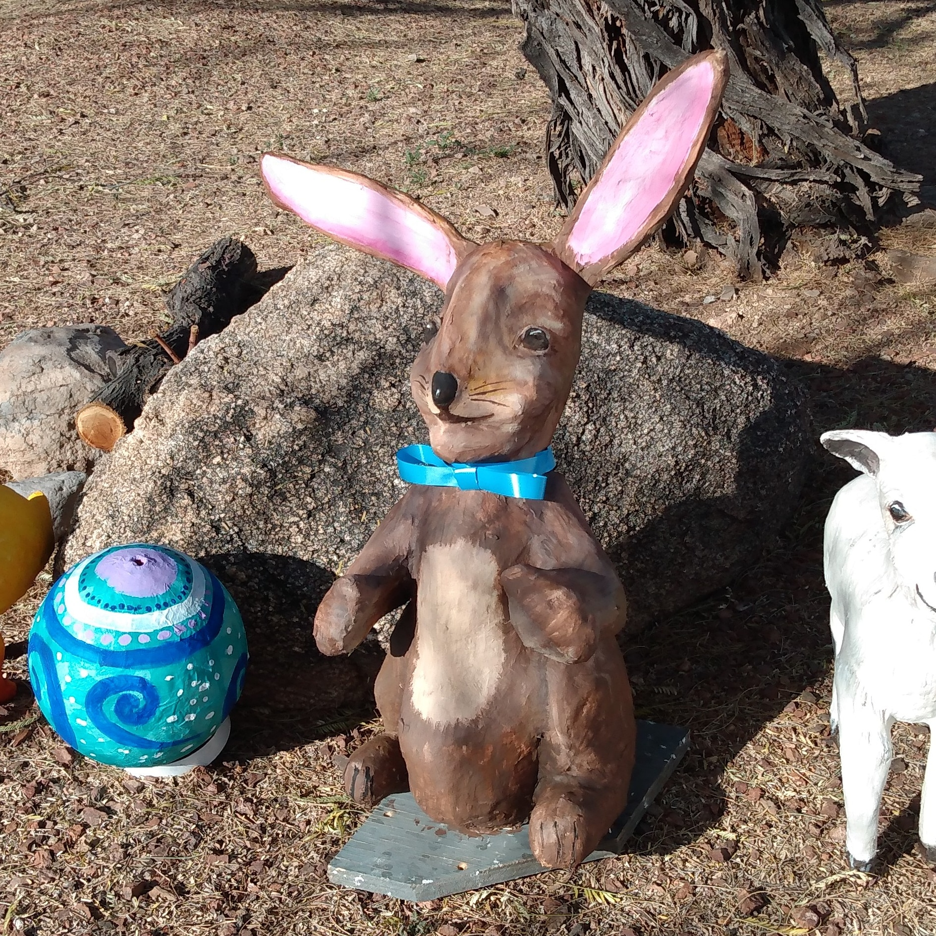 Easter bunny and friends made with air dry cl;ay