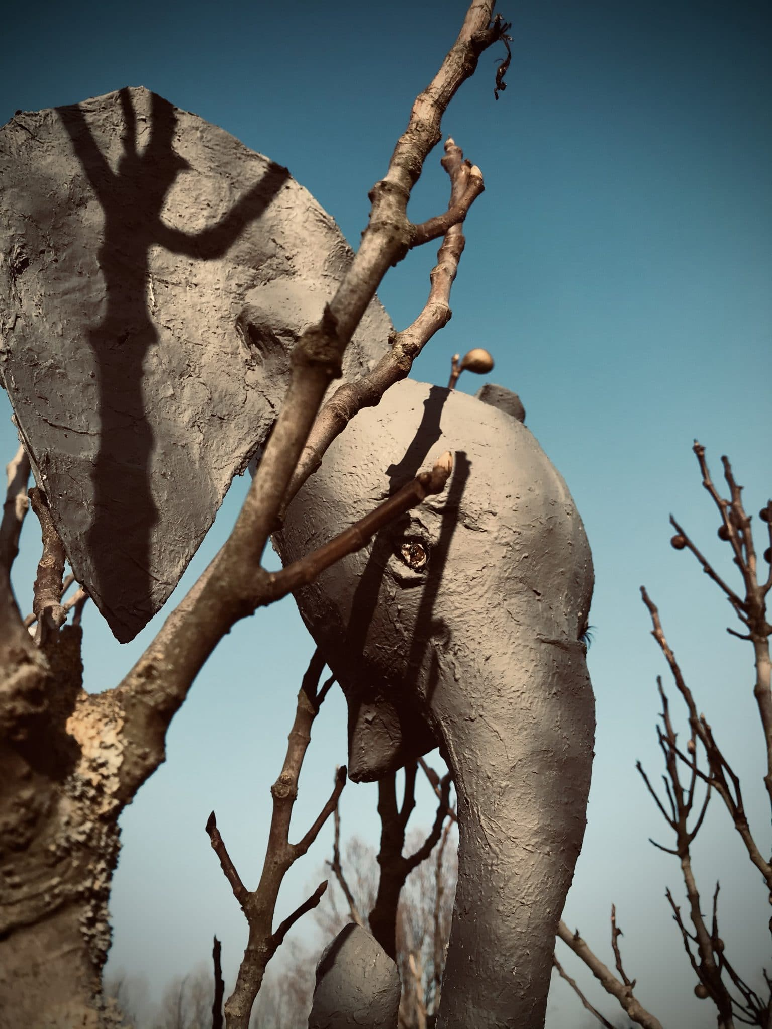 Paper mache elephant head sculpture
