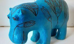 Paper Mache copy of William the Blue Egyptian Hippo
