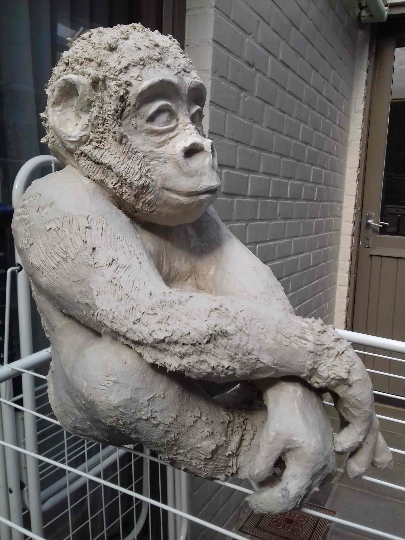 Baby gorilla sculpture