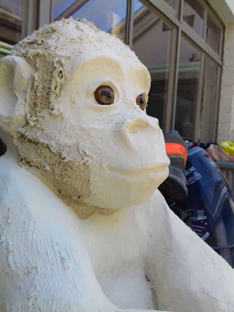 Baby gorilla sculptues in paper mache clay