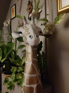 Giraffe head sculpture by Louise Keegan