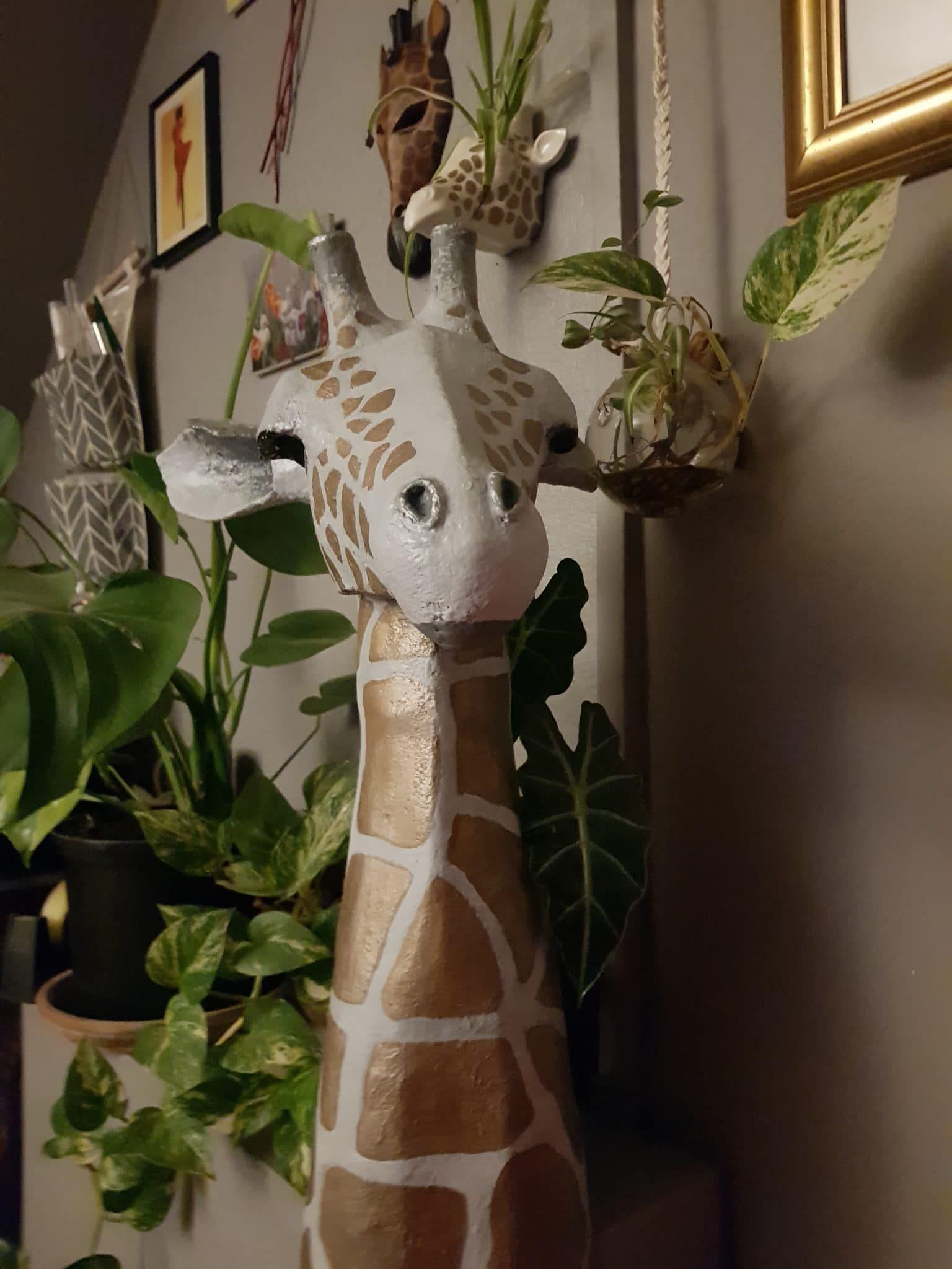 Giraffe head sculpture by Louise Keegan