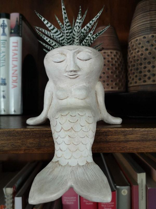 Paper mache mermaid pot