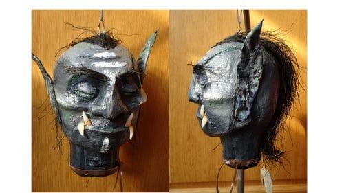 Paper Mache Shrunken Orc Head
