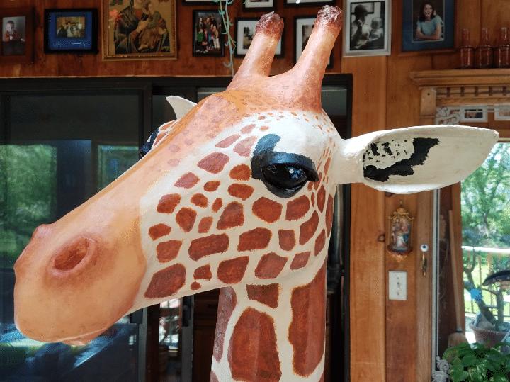 Side View of Giraffe Head sculpture